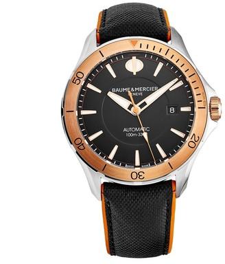Baume & Mercier Baume Mercier Men's M0A10424 'Clifton' Black Dial Two-Tone Leather Strap Swiss Automatic Watch