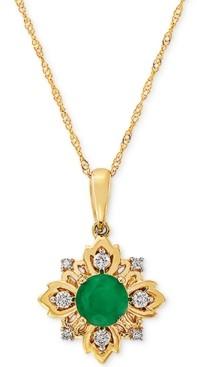 "Macy's Emerald (1/2 ct. t.w.) & Diamond (1/10 ct. t.w.) 18"" Pendant Necklace in 14k Gold"