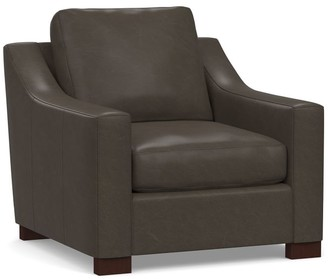 Pottery Barn Turner Slope Arm Leather Armchair