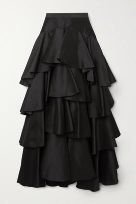 Giambattista Valli Tiered Ruffled Taffeta Maxi Skirt - Black