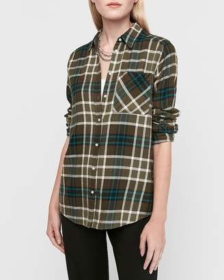 Express Supersoft Green Plaid Flannel Boyfriend Shirt