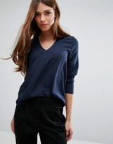 Pieces Andrea Long Sleeved V Neck Top