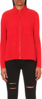 The Kooples Zipped crepe and jersey-blend shirt