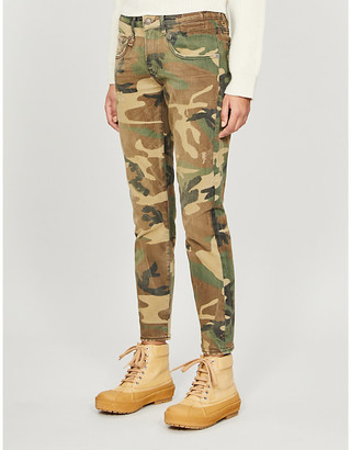 R 13 Camouflage-patterned skinny mid-rise jeans