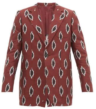 Connolly - Jacquard Ikat Pattern Cotton Blend Blazer - Mens - Burgundy