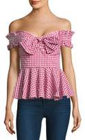 Caroline Constas Artemis Gingham Cotton Bustier Top