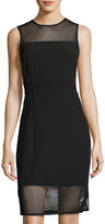 Laundry by Shelli Segal Mesh-Inset Sleeveless Dress, Black