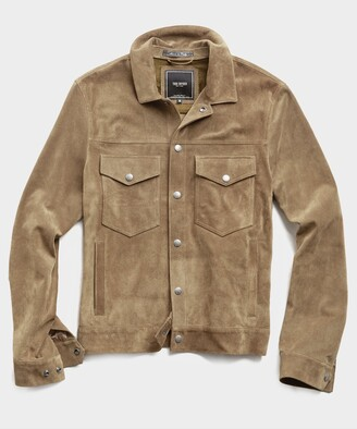 Todd Snyder Italian Suede Snap Dylan Jacket in Cappuccino