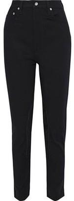 Helmut Lang Femme Hi Rider Suede-appliqued Cotton-blend Twill Slim-leg Pants
