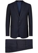 Armani Collezioni M-line Navy Geometric Wool Suit