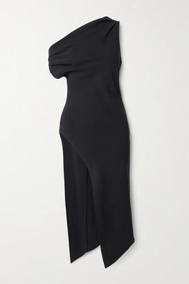 Cushnie One-shoulder Draped Crepe Tunic - Black