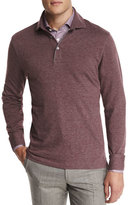Ermenegildo Zegna Cashmere-Blend Long-Sleeve Polo Shirt, Red