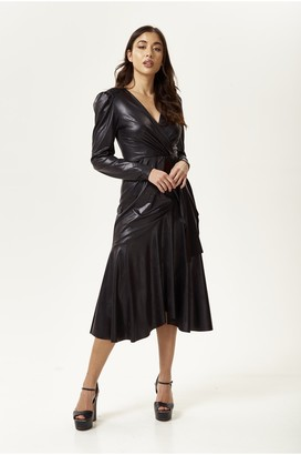 Liquorish PU Wrap Dress in Black with Long Sleeves