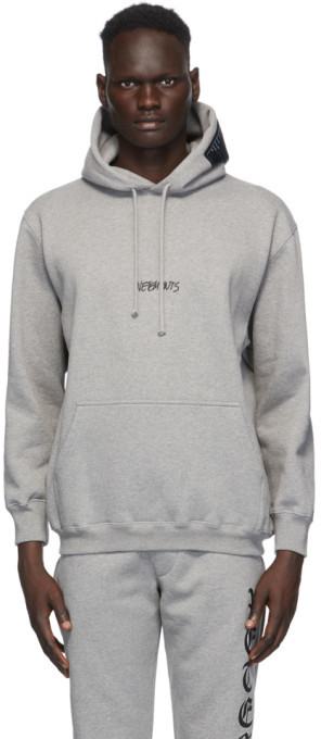 Vetements Grey Written Logo Hoodie