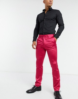 Twisted Tailor sateen suit pants in hot pink