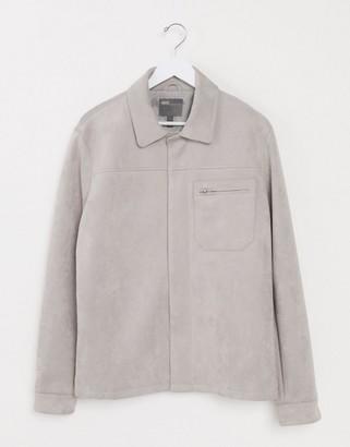ASOS DESIGN harrington jacket in gray faux suede