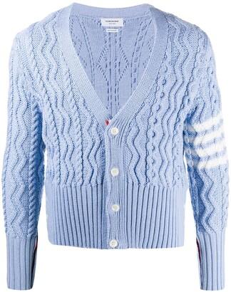 Thom Browne 4-Bar Aran cable knit cardigan