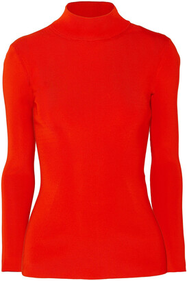 Victoria Beckham Open-back Stretch-knit Turtleneck Top