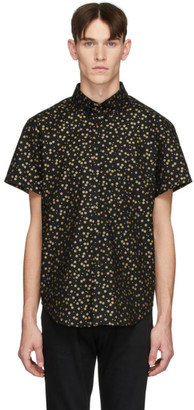 Naked & Famous Denim Denim Black and Gold Japanese Flowers Easy Shirt