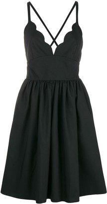Miu Miu Scallop Trim Flared Dress