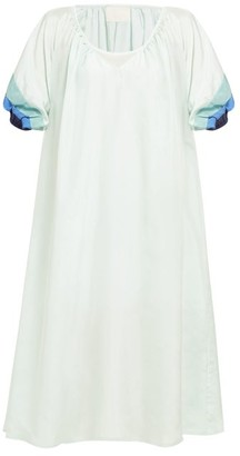 Anaak - Catalina Panelled-sleeve Silk Dress - Womens - Green Multi