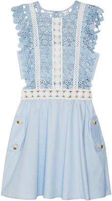 Self-Portrait Guipure Lace And Cotton-poplin Mini Dress
