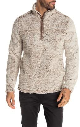 Weatherproof Quarter Zip Faux Shearling Pullover Sweater