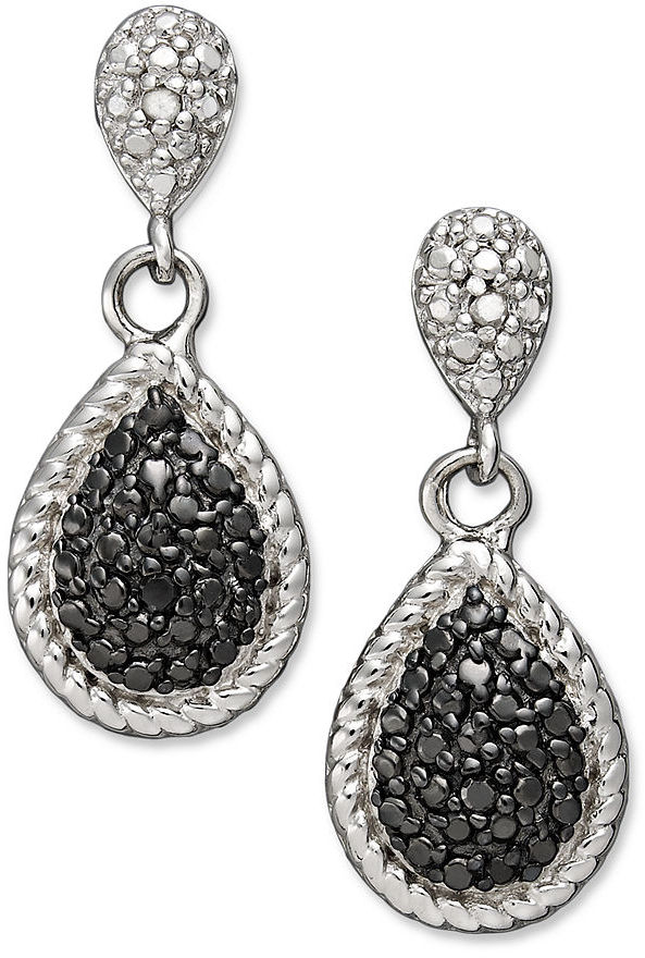 Townsend Victoria Sterling Silver Earrings, Black and White Diamond Accent Pear Drop Earrings