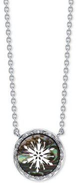 """Disney Frozen 2 Snowflake Abalone Pendant Necklace in Fine Silver Plate, 16"""" + 2"""" extender"""