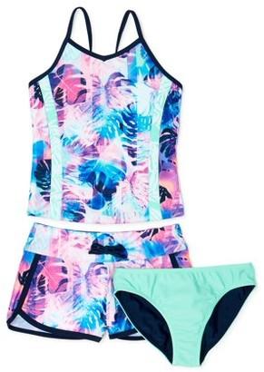 Wonder Nation Girls Lined Tankini Swimsuit, Reversible Bottoms and Swim Shorts, UPF 50+, 3-pc Set, Sizes 4-18 & Plus