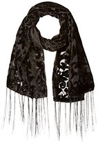 D&Y Women's Velvet Damask Burnout Scarf