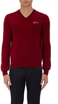 Comme des Garcons Men's Double-Heart-Patch Wool Sweater-RED