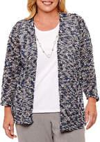 Alfred Dunner Arizona Sky 3/4 Sleeve Eyelash Layered Sweaters-Plus