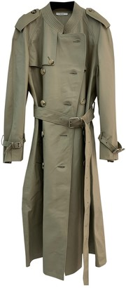 Celine Khaki Leather Coat for Women