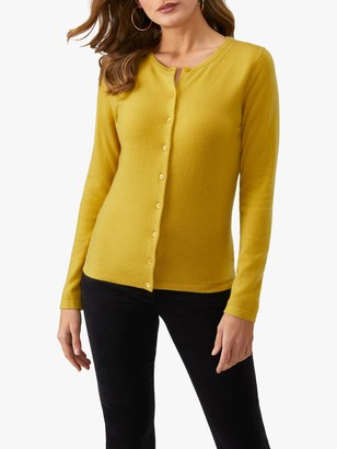 Pure Collection Crew Neck Cardigan, Amber