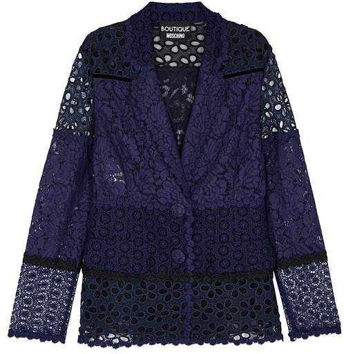 Moschino Navy Panelled Lace Jacket