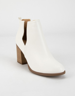 Soda Sunglasses Side Slit Womens White Booties