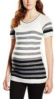 Pietro Brunelli Women's OXFORD Striped Crew Neck Short Sleeve Maternity T-Shirt