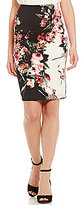 I.N. San Francisco Floral-Printed Scuba Pencil Skirt