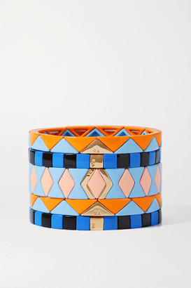 Roxanne Assoulin Nemo Set Of Five Enamel And Gold-tone Bracelets - Blue