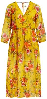 Zenobia Women's Maxi Dresses YELLOW - Yellow & Red Floral Surplice Midi Dress - Plus