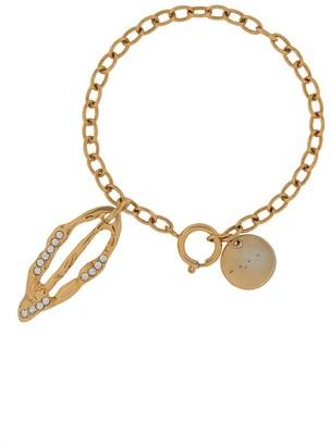 Marni Crystal-Embellished Leaf Pendant Bracelet