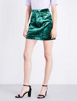 Sandro High-rise A-line velvet skirt