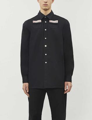 Raf Simons Text-print button-down denim shirt