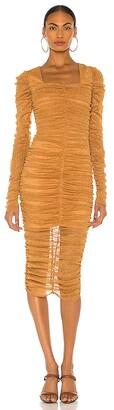 JONATHAN SIMKHAI STANDARD Zinnia Ruched Midi Dress