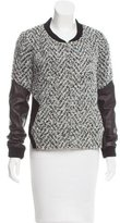 Thakoon Leather-Trimmed Knit Jacket