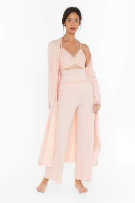 Nasty Gal Womens Invest in Rest Longline Lace Lounge Cardigan - pink - 6
