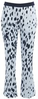 Twin-Set Twinset Flare Trousers In Cotton Satin With Black And White Spotted Print