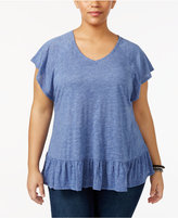 Style&Co. Style & Co Plus Size Flutter-Sleeve Peplum Top, Only at Macy's