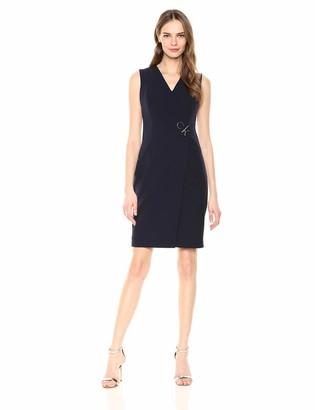 Calvin Klein Women's Sleeveless V Neck Cross Front Sheath Dress
